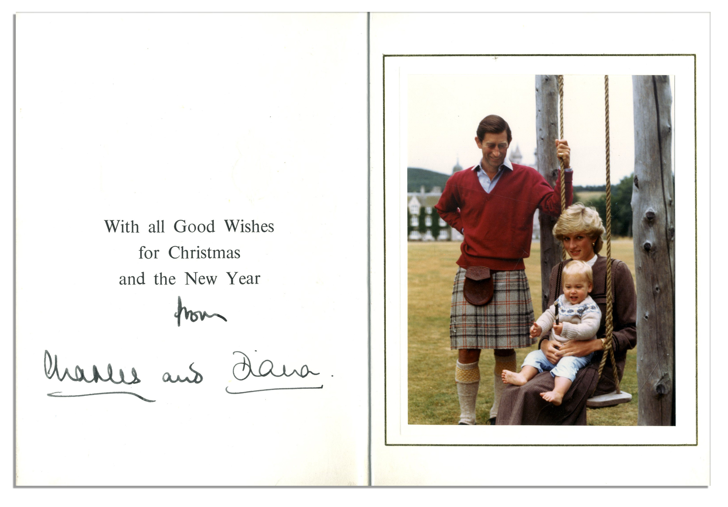 lot detail princess diana and prince charles signed christmas card from 1983 with family portrait featuring diana posing on a swing with baby prince william prince charles signed christmas card