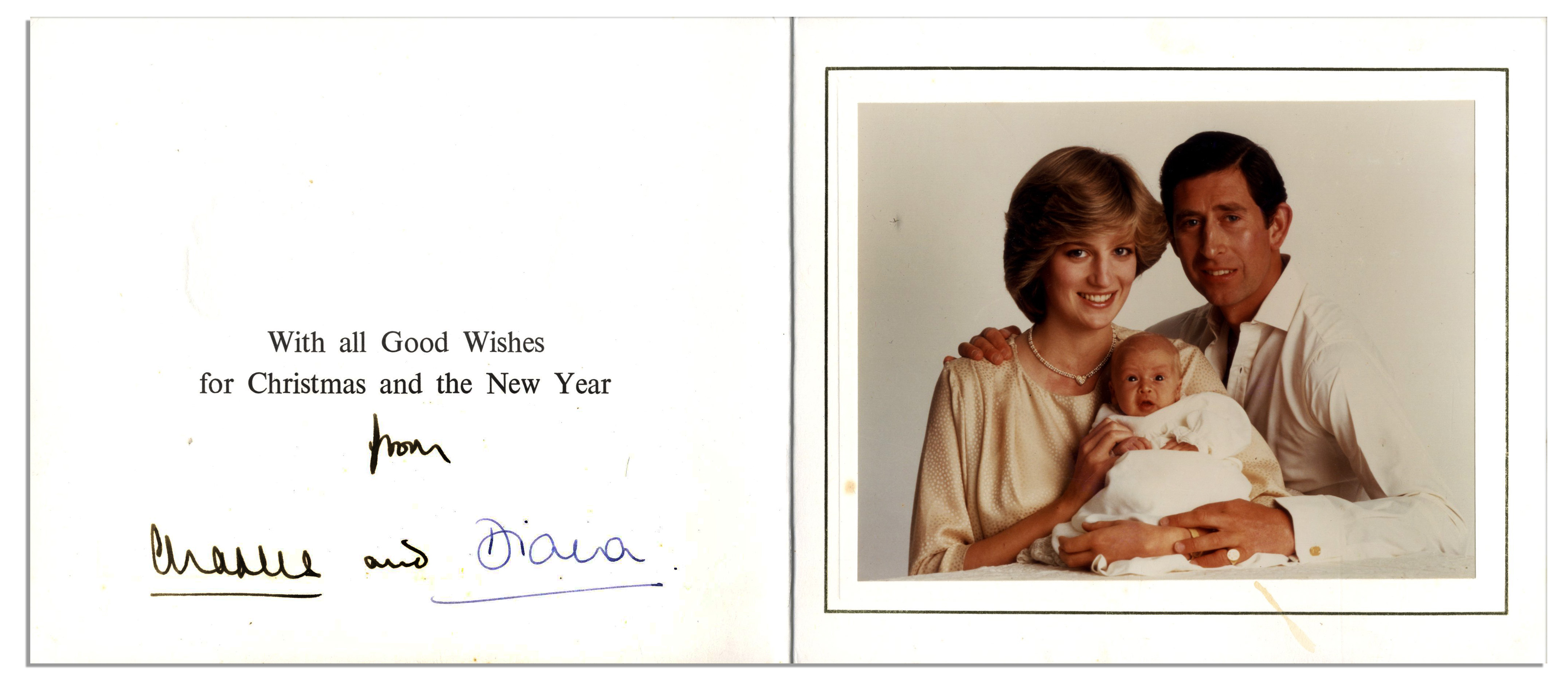 princess diana prince charles signed christmas card from 1982 with a lovely family - Christmas Card Signatures