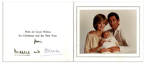Princess Diana & Prince Charles Signed Christmas Card From 1982 -- With a Lovely Family Portrait Photo