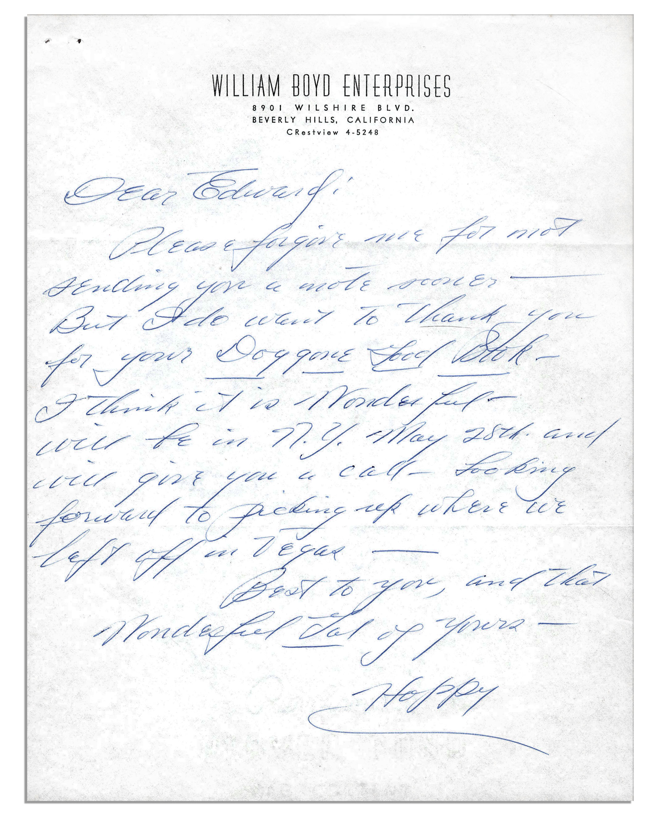 lot detail william boyd hopalong cassidy autograph letter
