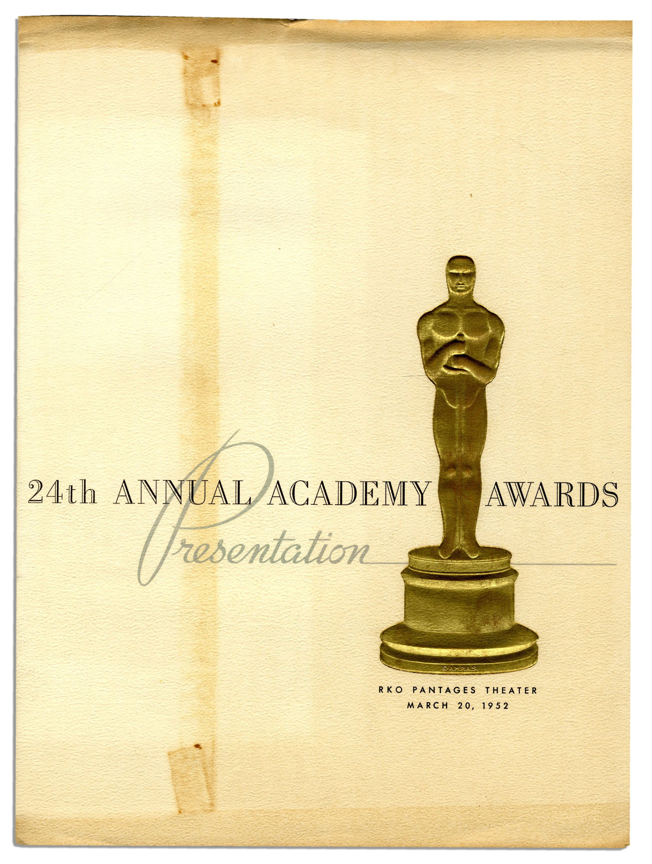 lot detail academy award ceremony program 1952 american in