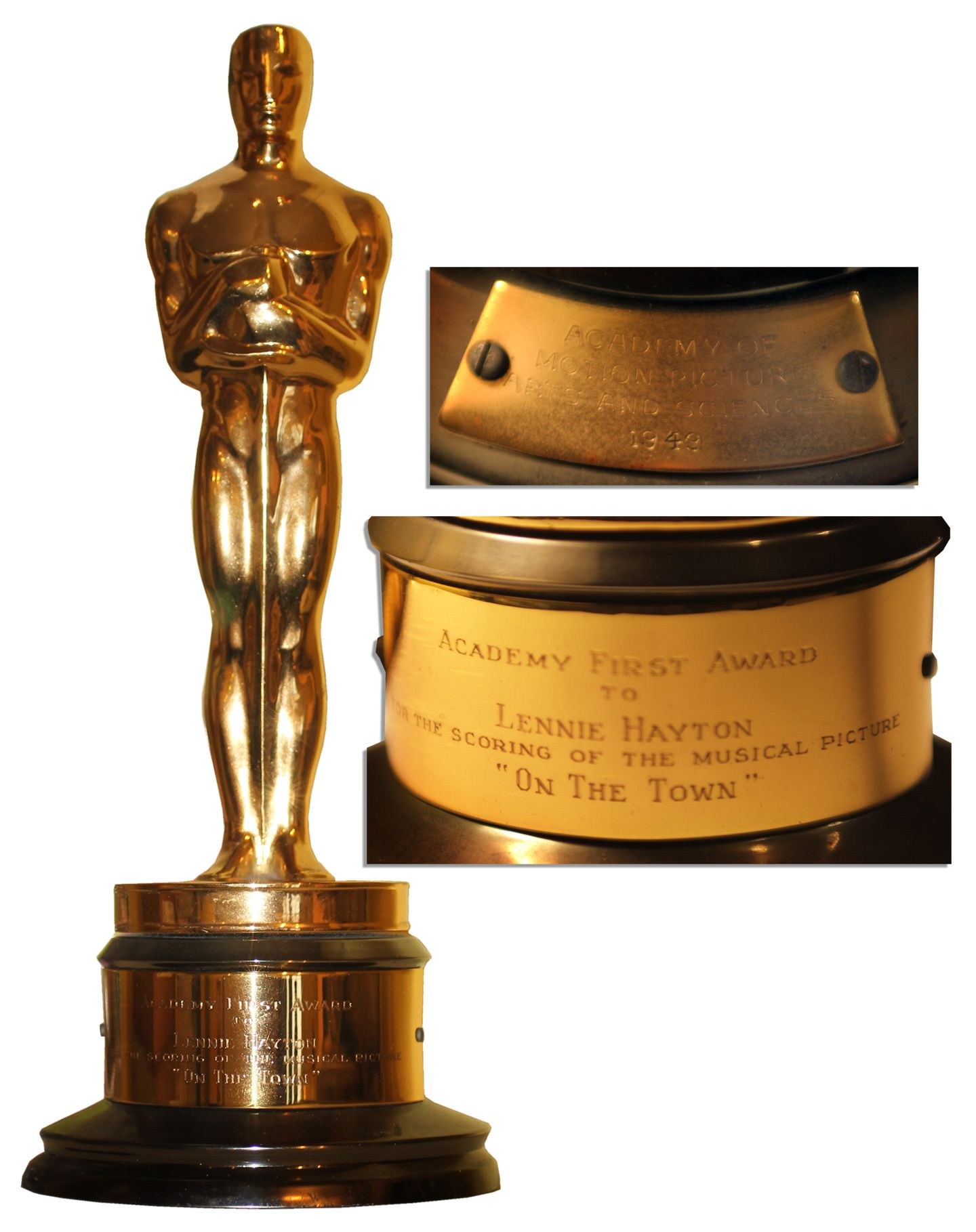lot detail on the town oscar statue for best scoring of a