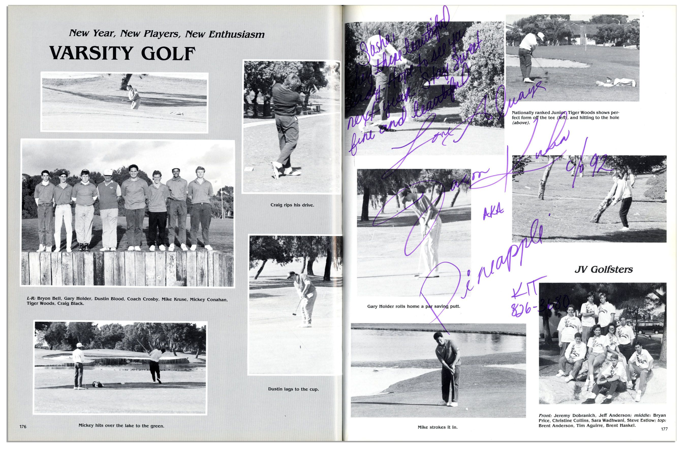 Lot Detail - Tiger Woods High School Yearbook -- With Early Pictures ...