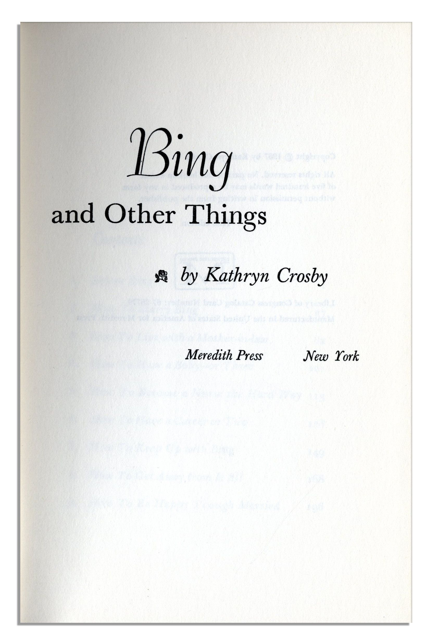 Lot Detail Bing Crosby Signed Copy Of His Wife Kathryn Crosbys