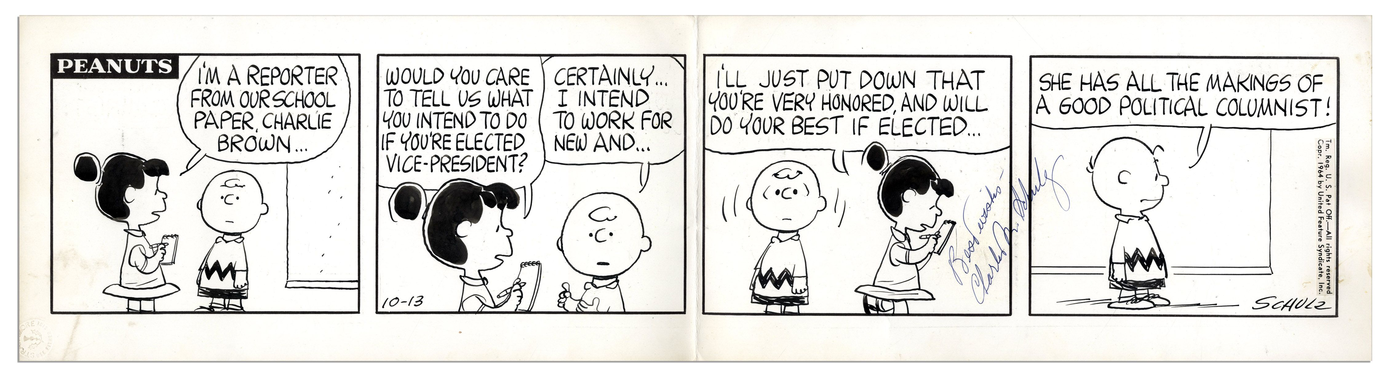 Charles Schulz Hand-Drawn Original ''Peanuts'' Comic Strip -- With Charlie  Brown & Lucy