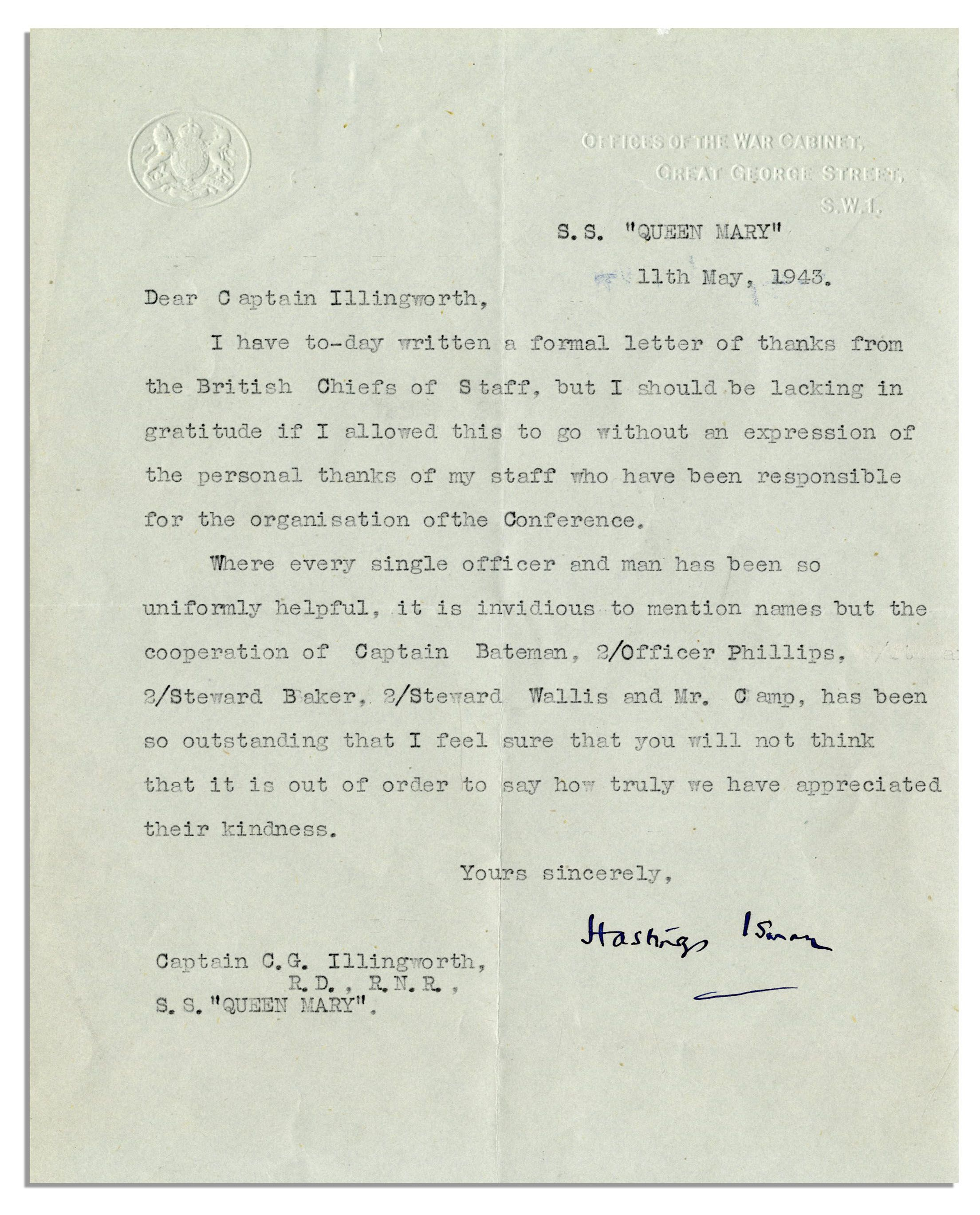 lot detail 1943 typed letter signed from winston With churchill letters