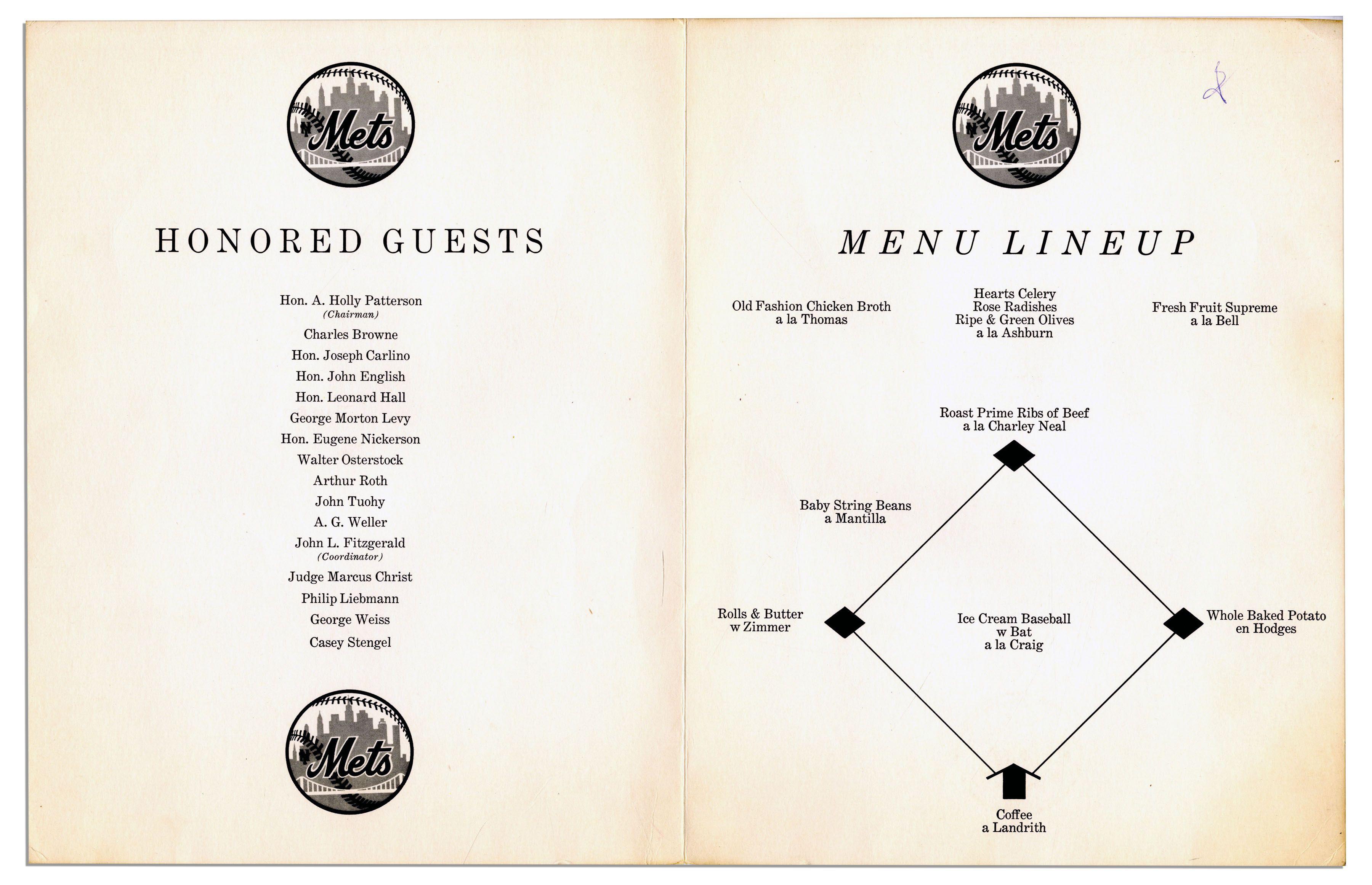 Dinner Program Mets 1962 Dinner Program