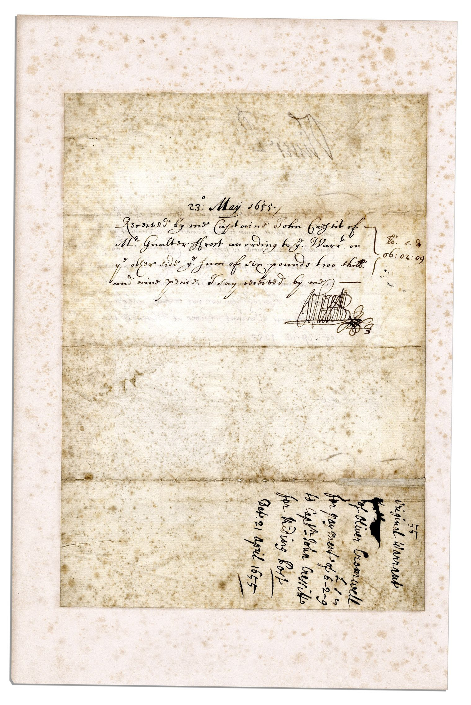 Oliver Cromwell Autograph