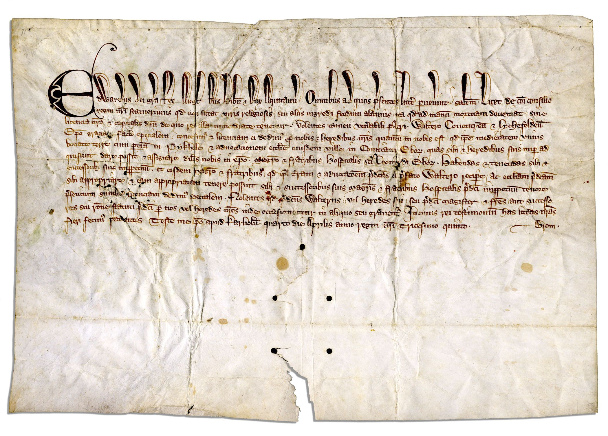 King Edward Memorabilia 1307 Document From the Reign of Edward I -- One of the Few Extant Documents From the King Who Imposed a 400 Year Ban on Jews in England