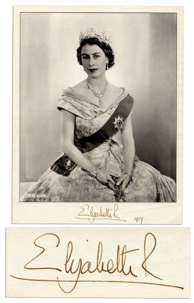 Queen Elizabeth Autograph Queen Elizabeth's Official Coronation Photo Signed in 1959