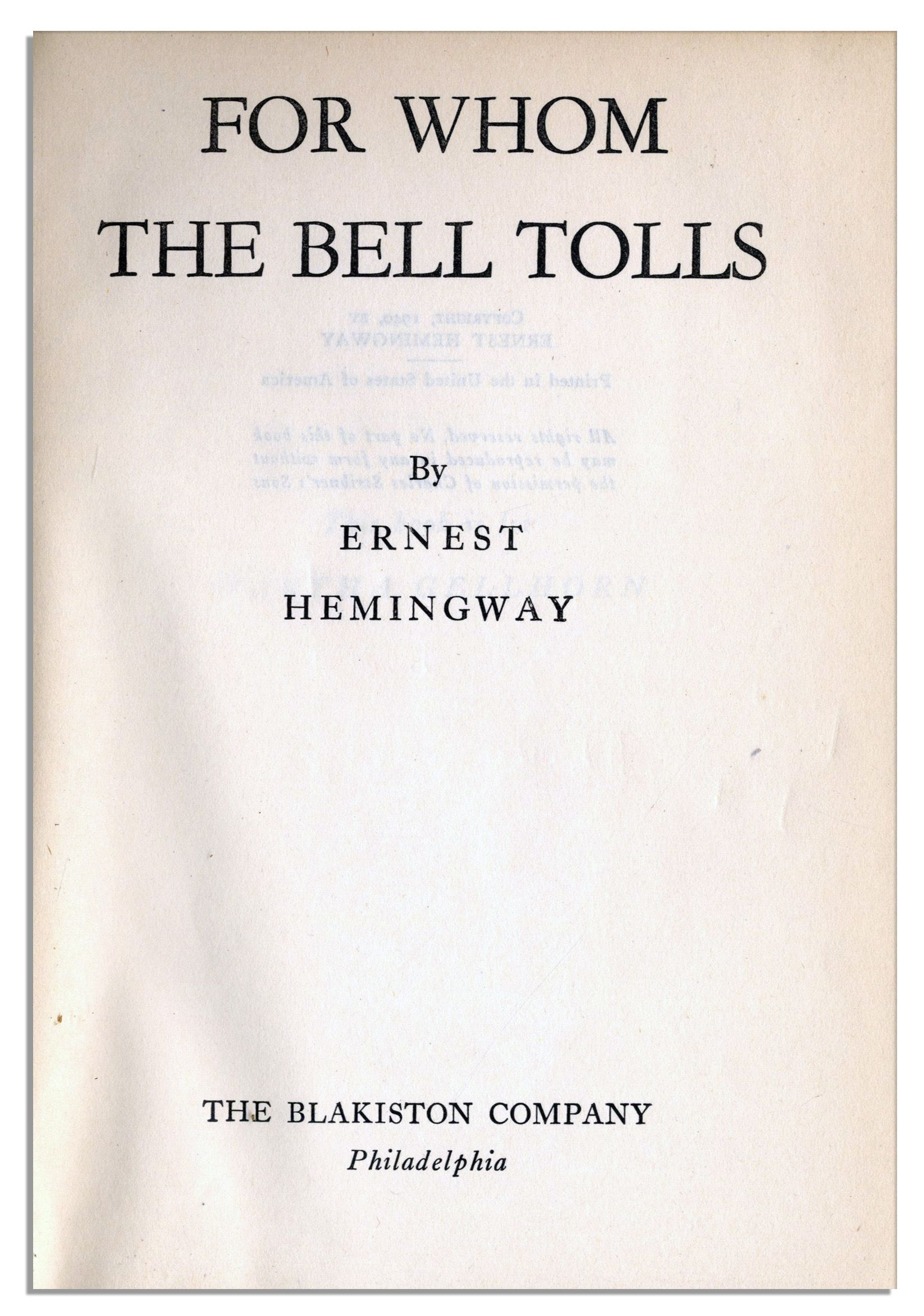 an experience of war in for whom the bell tolls by ernest hemingway First published in 1940, ernest hemingway's renowned classic for whom the bell tolls is a book with important themes that still hold relevance today the book is semi-biographical as hemingway took inspiration for some of the characters and events from his own experiences in the spanish civil war.