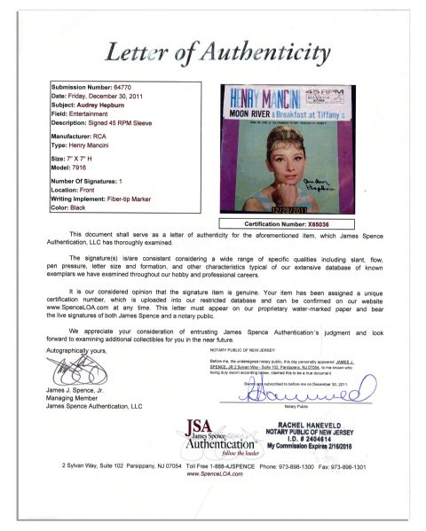 Audrey Hepburn Autographed ''Moon River'' Record Cover -- Her Memorable ''Breakfast at Tiffany's'' Song -- With JSA COA