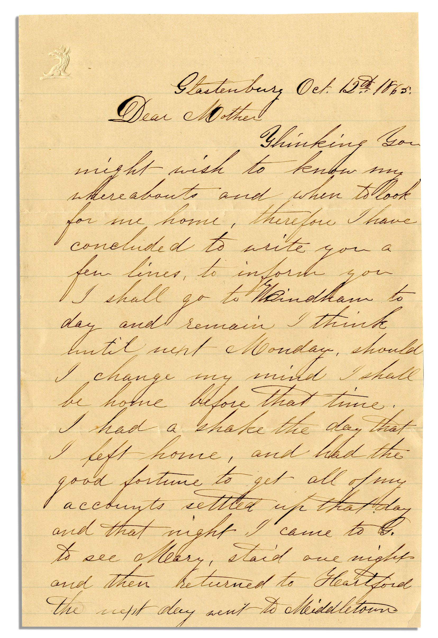 Lot Detail Civil War Letter by 1st CT Heavy Artilleryman