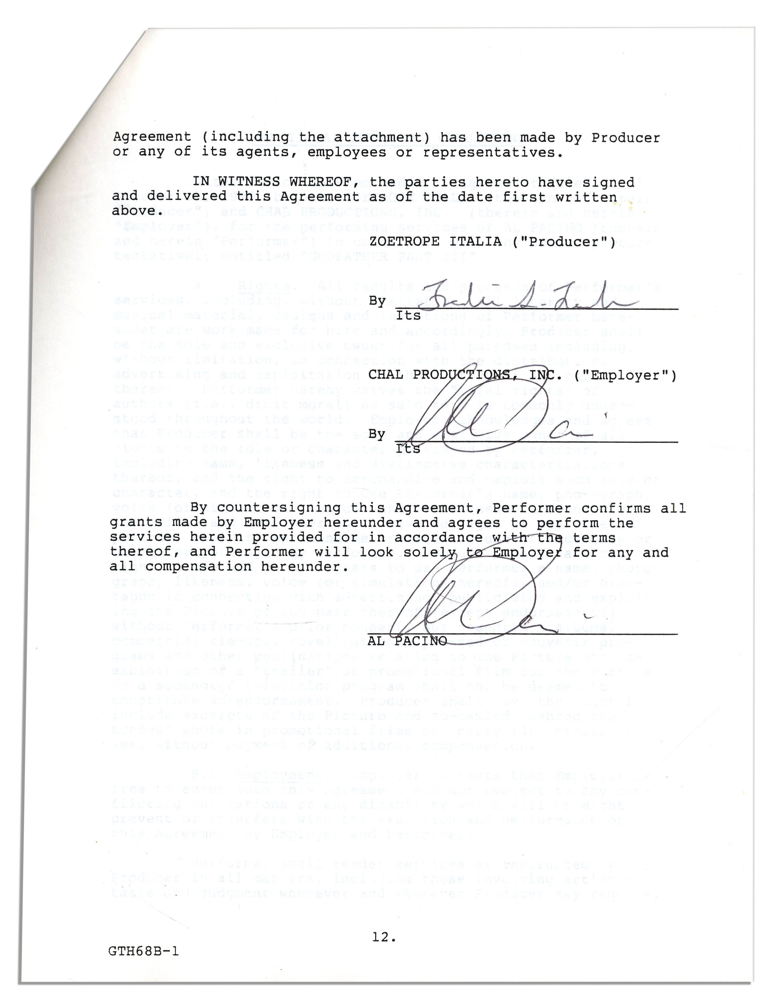 lot detail the godfather part iii signed actor contracts al