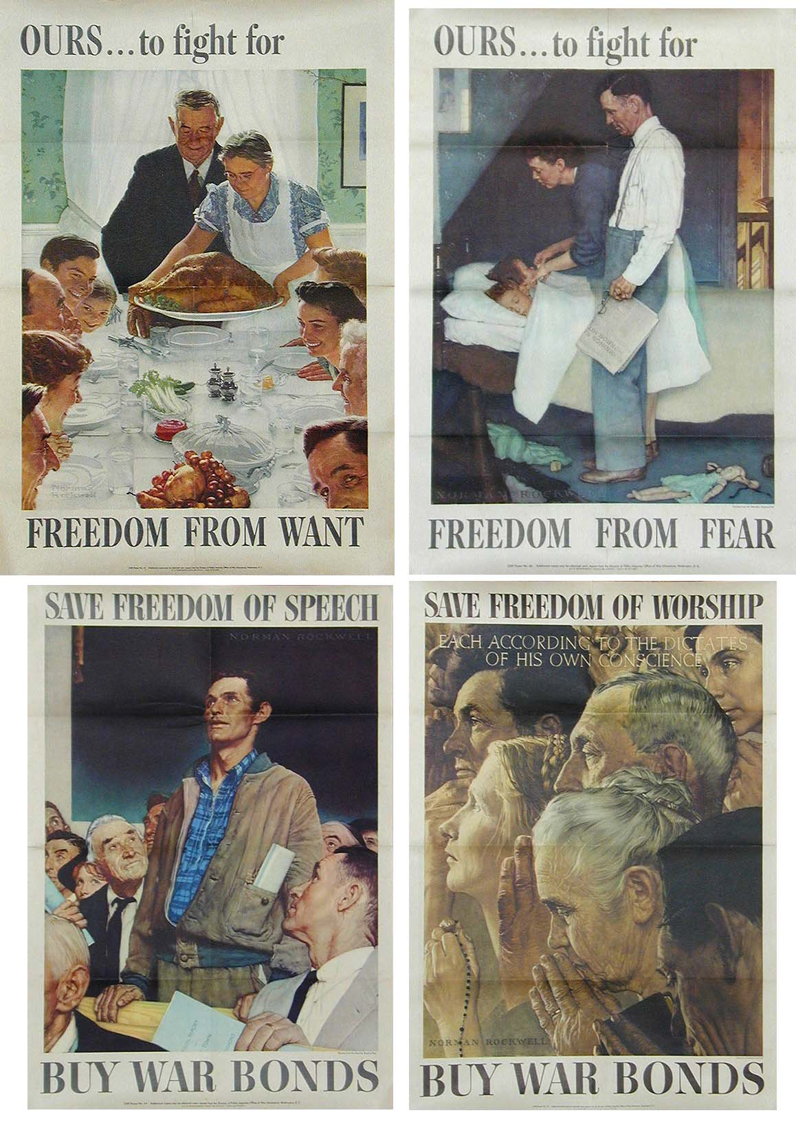 Lot Detail - Set of Norman Rockwell's ''Four Freedoms'' Set ...