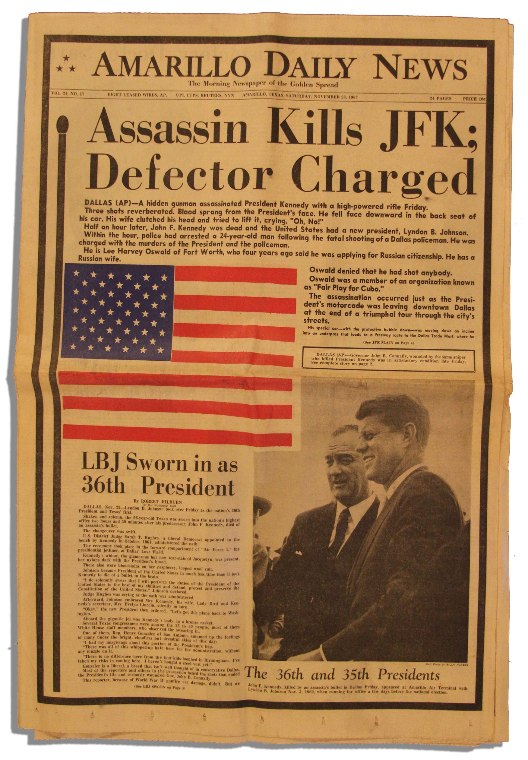 Lot Detail - JFK Assassination Newspaper -- 23 November ...