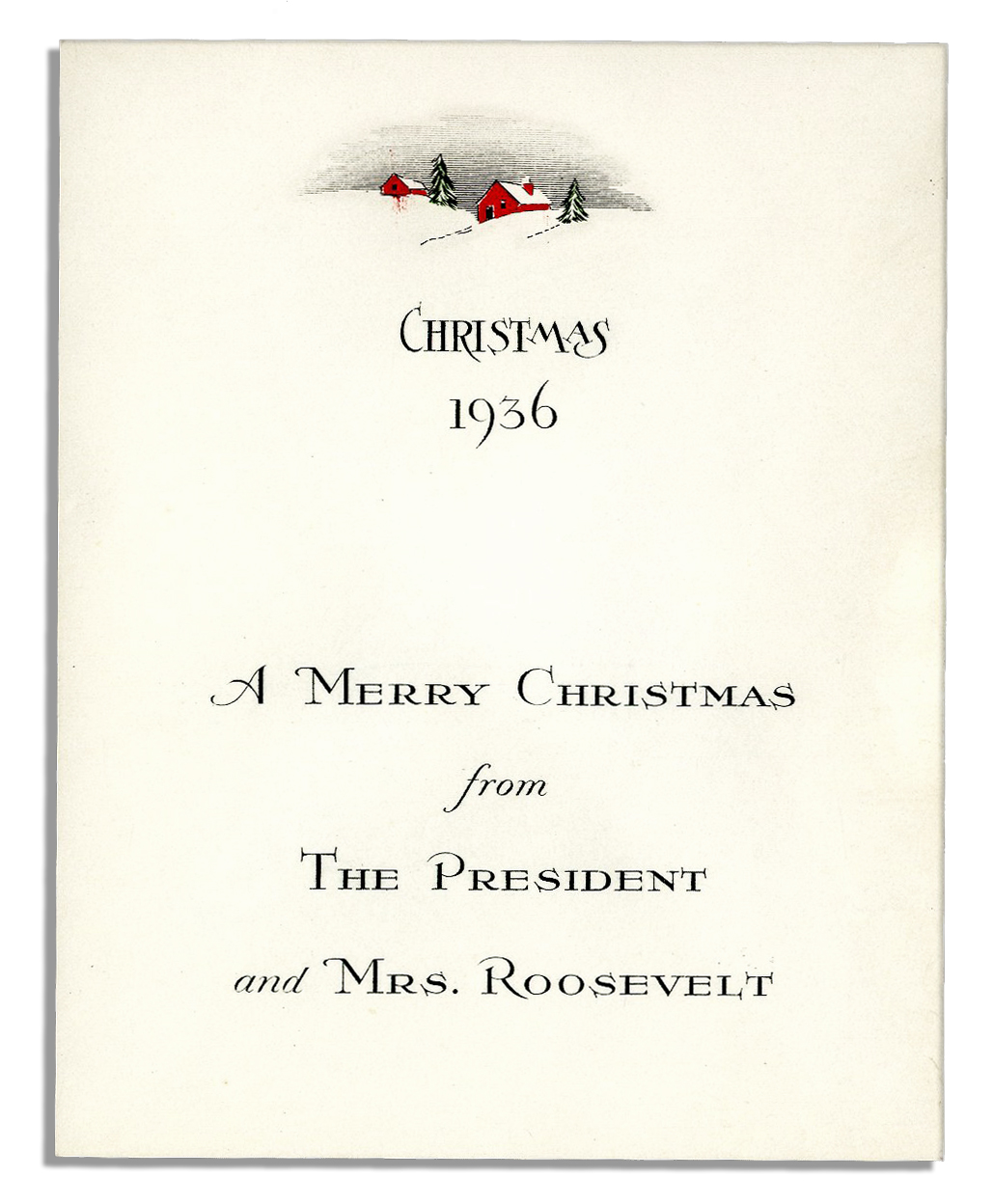 Lot Detail - Christmas Card From FDR\'s 1936 White House Following ...