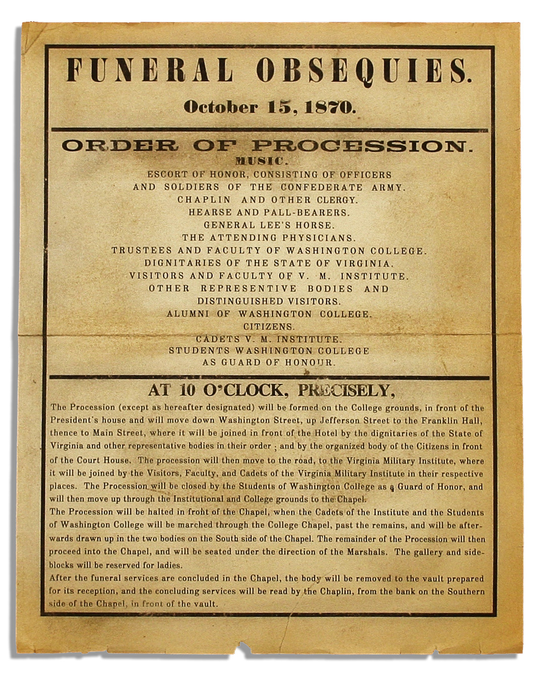 Robert E. Lee autograph Original Robert E. Lee Funeral Obsequies Broadside -- Detailing the Legendary Civil War Leader's Funeral Procession -- ''...Consisting of Officers and Soldiers of the Confederate Army...''