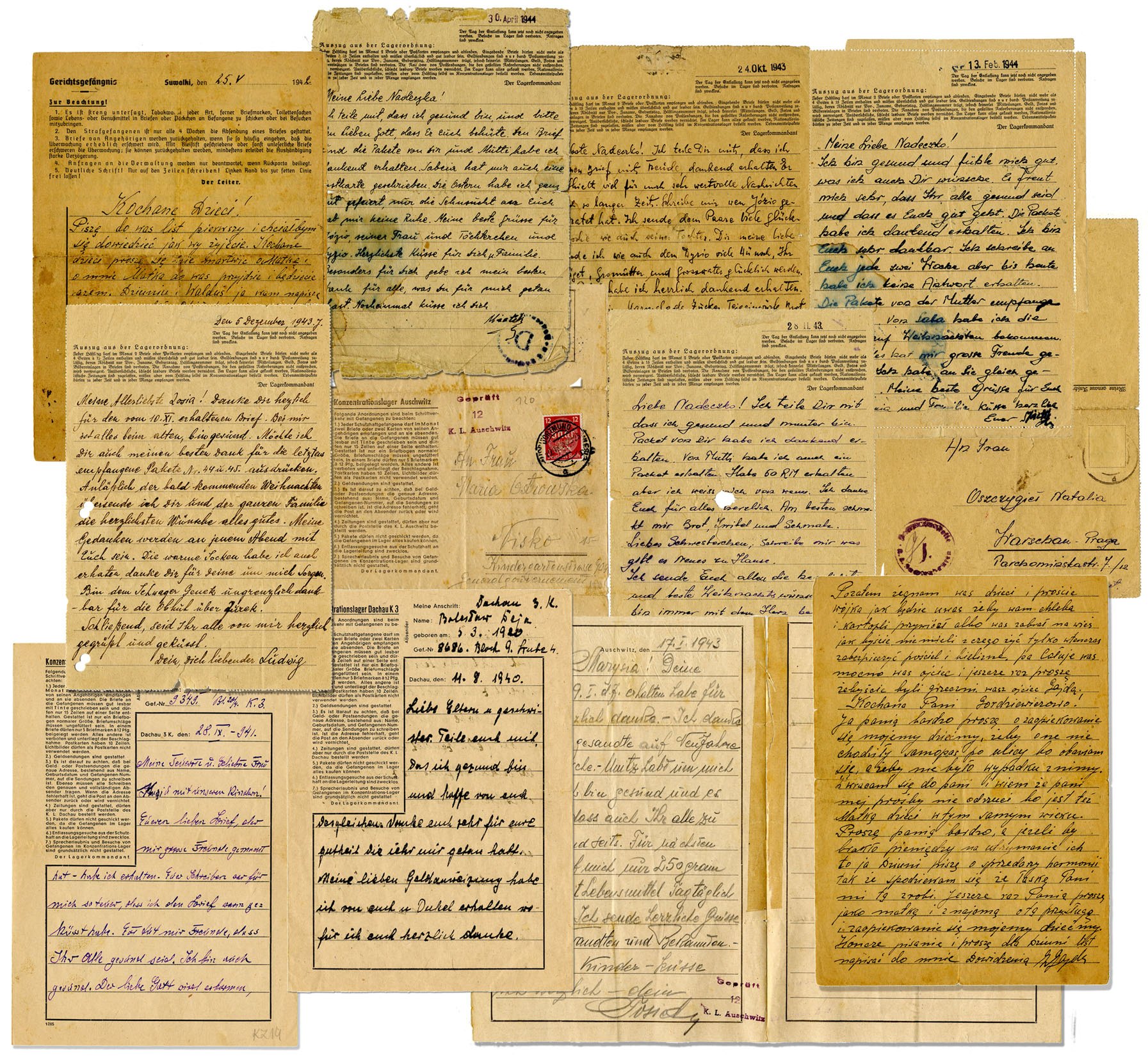 lot of eleven wwii letters from prisoners at the dachau auschwitz concentration camps