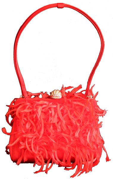 Marilyn Monroe dress auction Marilyn Monroe's Red Silk & Feather Purse Featuring Her ''MM'' Monogram