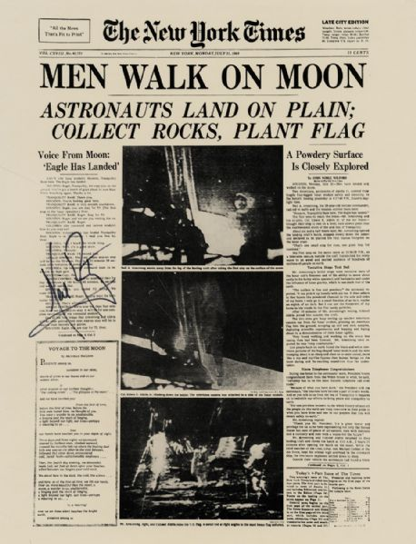 Neil Armstrong Signed New York Times Special Front Page