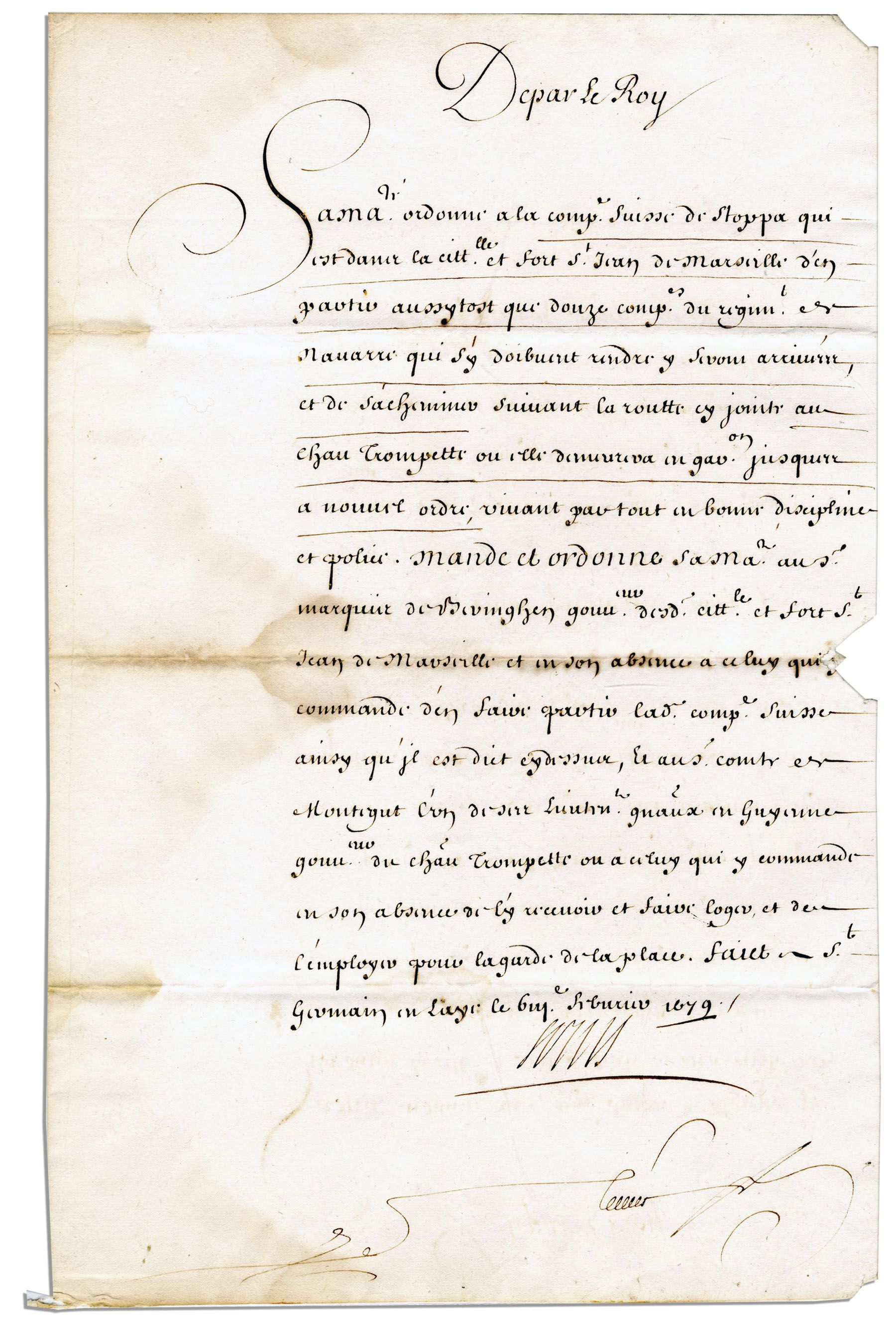lot detail king louis xiv document signed from 1679. Black Bedroom Furniture Sets. Home Design Ideas