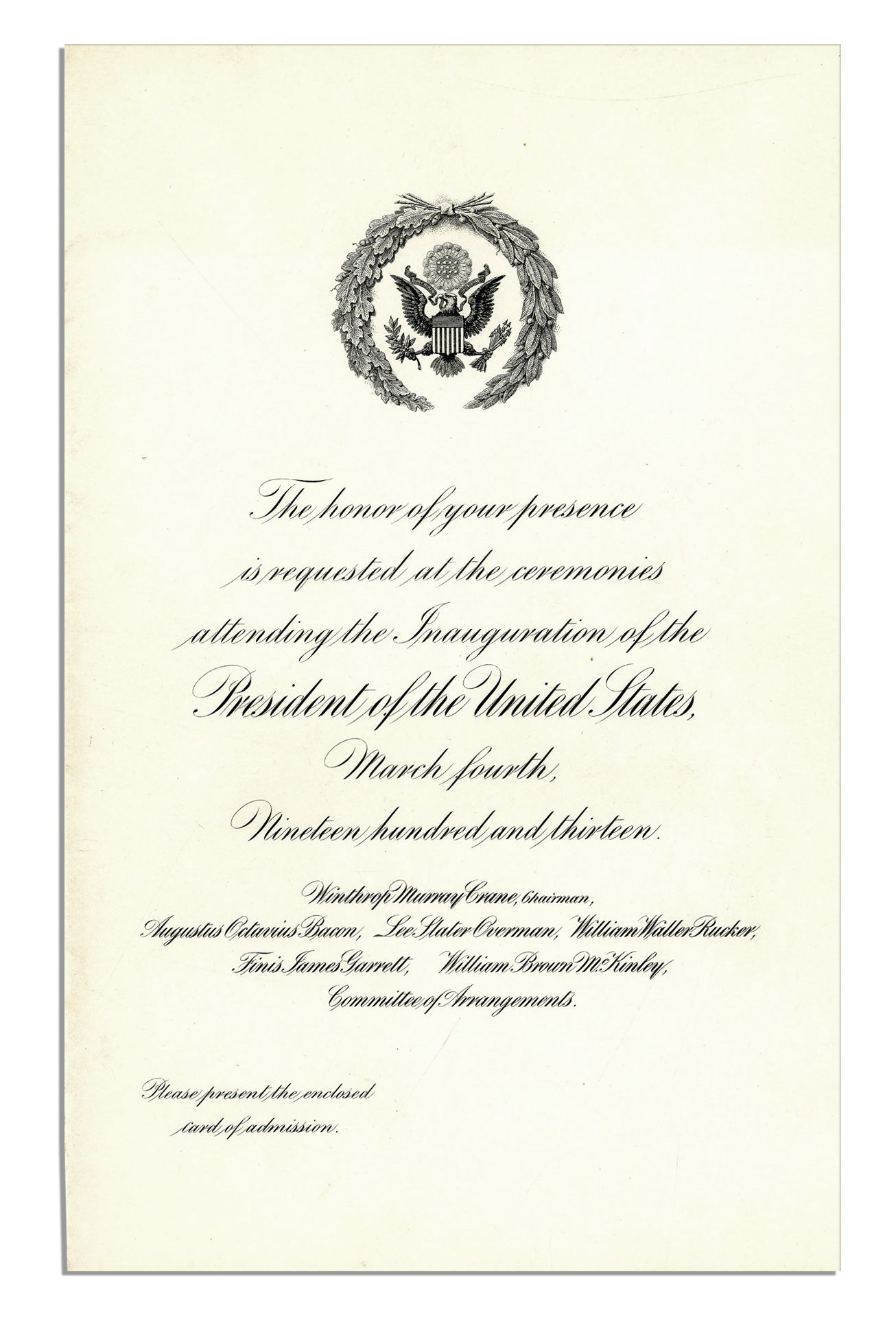 Lot detail woodrow wilson 1913 inauguration invitation program woodrow wilson 1913 inauguration invitation program stopboris Choice Image
