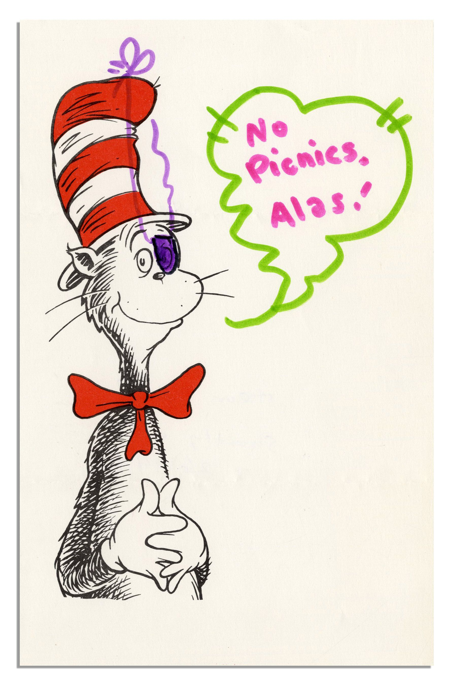 lot detail dr seuss letter cat in the hat drawing i am