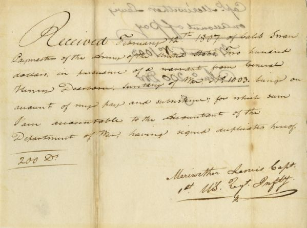 Lewis and Clark autograph Meriwether Lewis 1807 Document Signed Related to the Famed Lewis & Clark Expedition -- Lewis Receives 5 Months Pay From the Expedition Upon Returning to D.C.