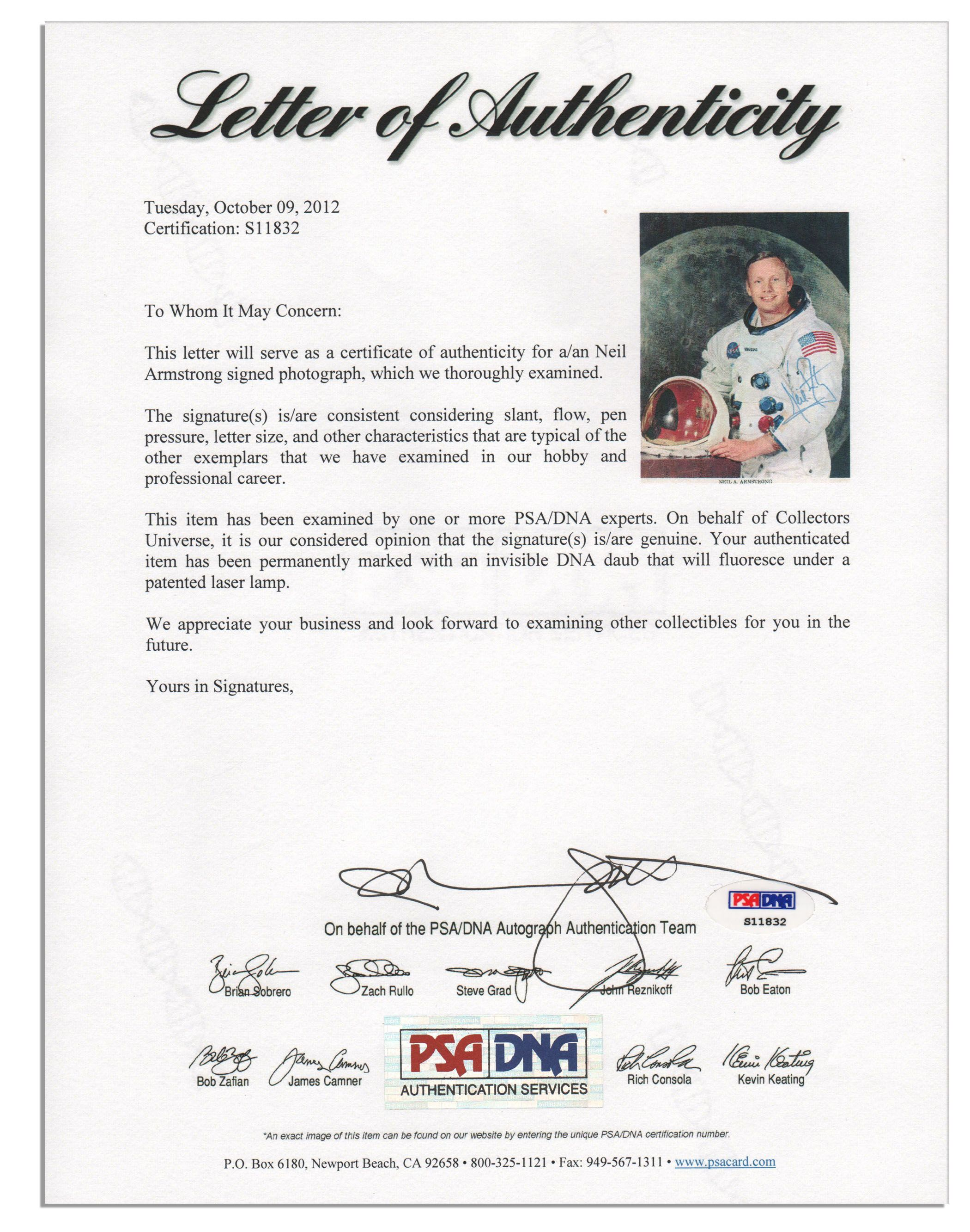 Lot Detail Neil Armstrong Signed 8 X 10 Photo Uninscribed