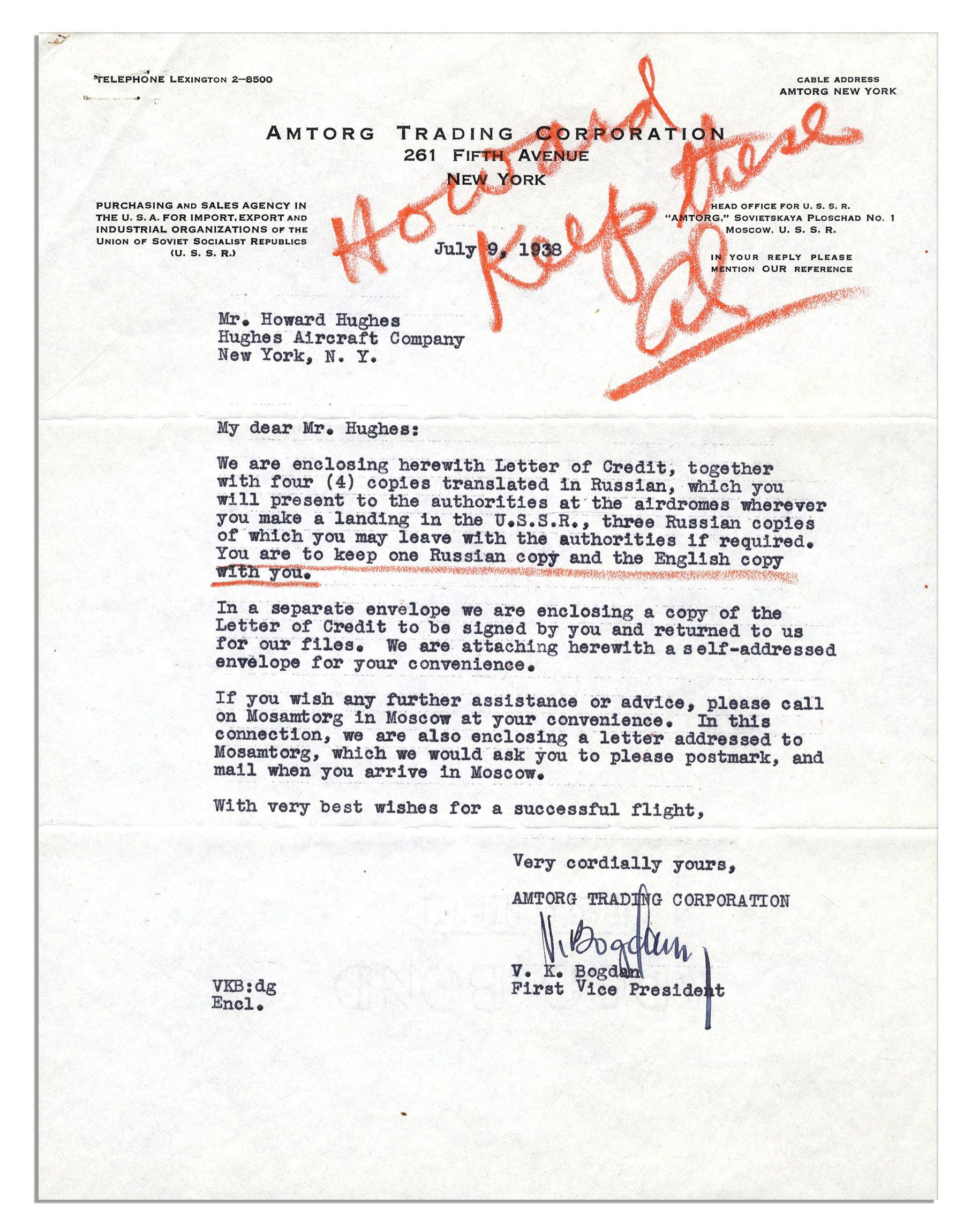 Lot detail scarce howard hughes typed letter signed regarding scarce howard hughes typed letter signed regarding his historic 1938 round the aljukfo Gallery