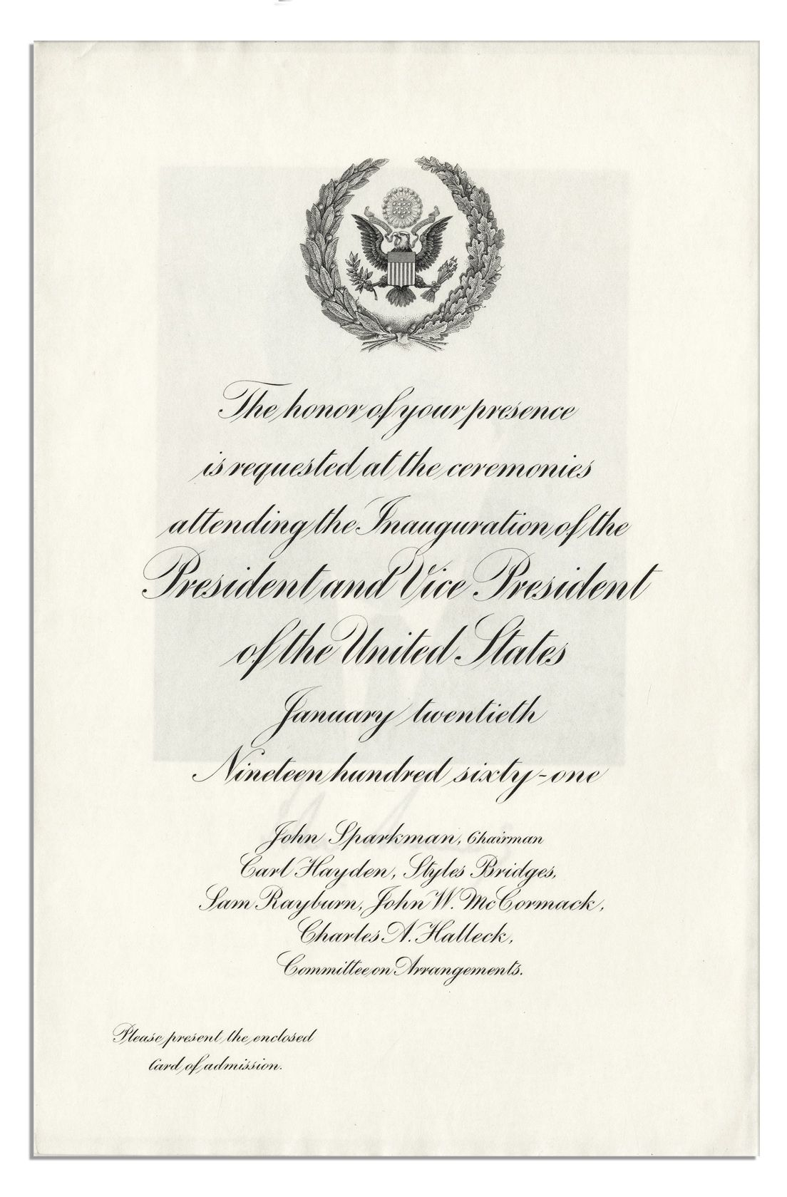 Lot Detail Official John F Kennedy Inauguration Ceremony