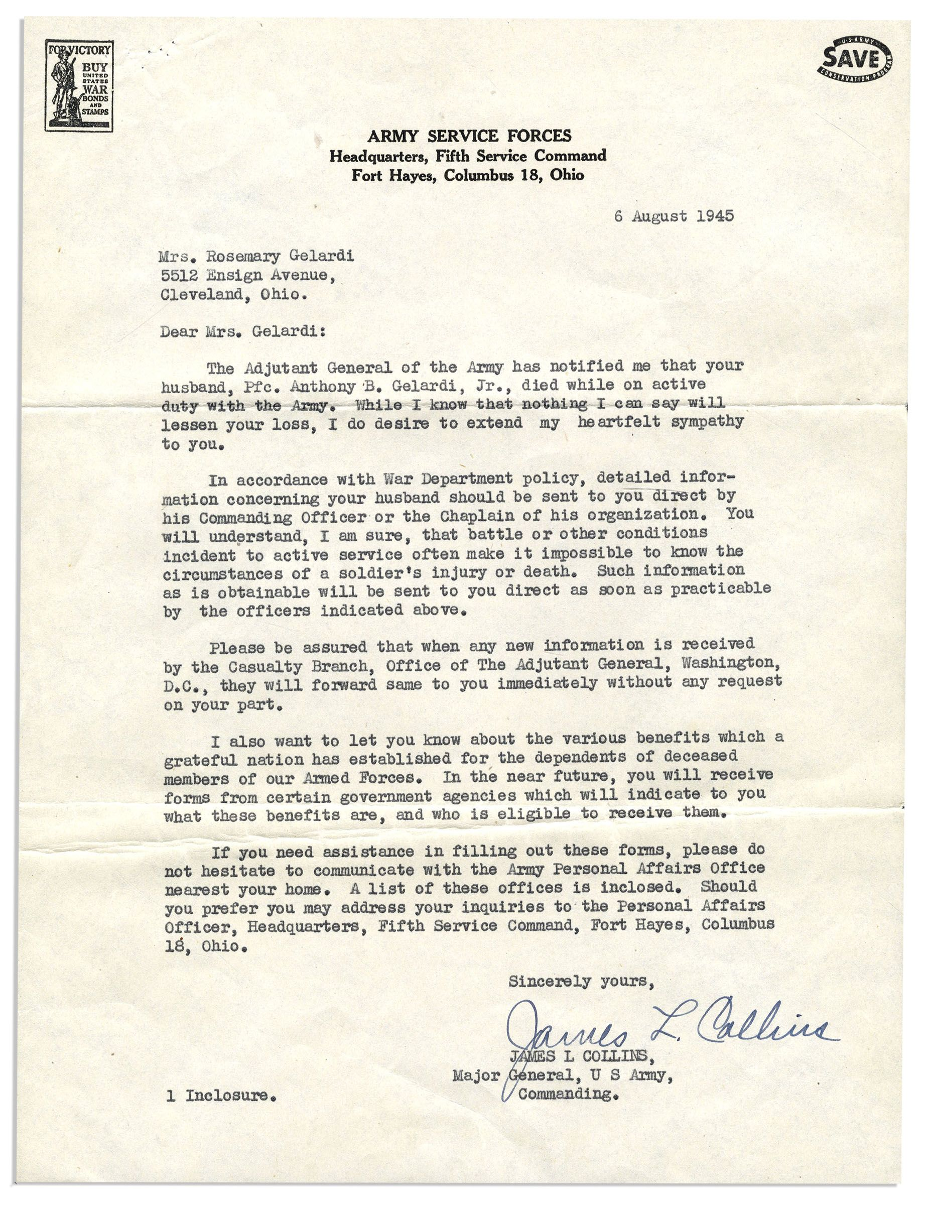 WWII Collection Of Letters From Various Military Generals Including General Douglas MacArthur