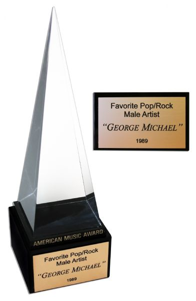 American Music Award auction George Michael's 1989 American Music Award for Favorite Pop/Rock Male Artist -- At the Peak of His Solo Career Success With His Chart-Breaking Faith Album