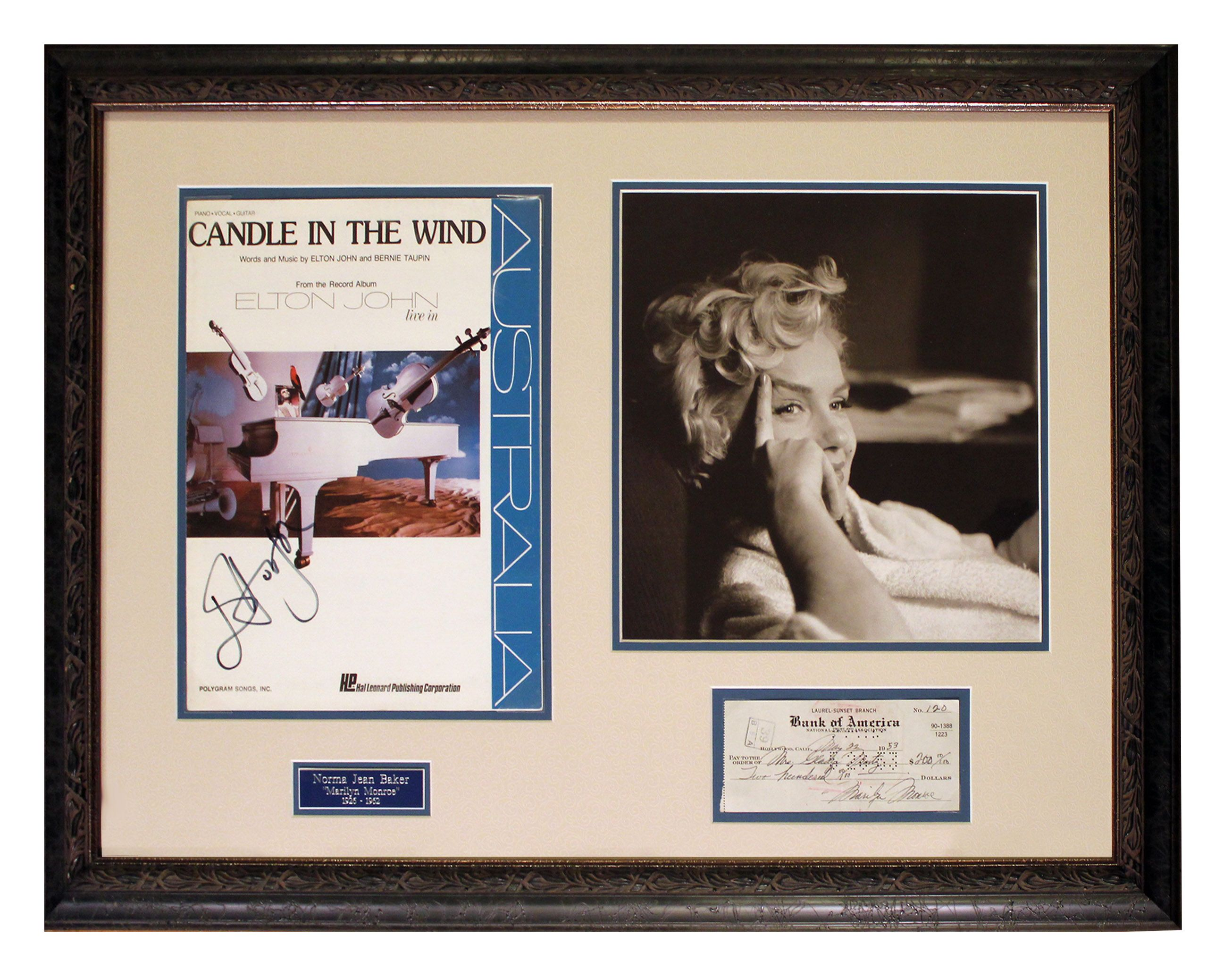 Marilyn Monroe Autograph Check Written and Signed by Marilyn Monroe