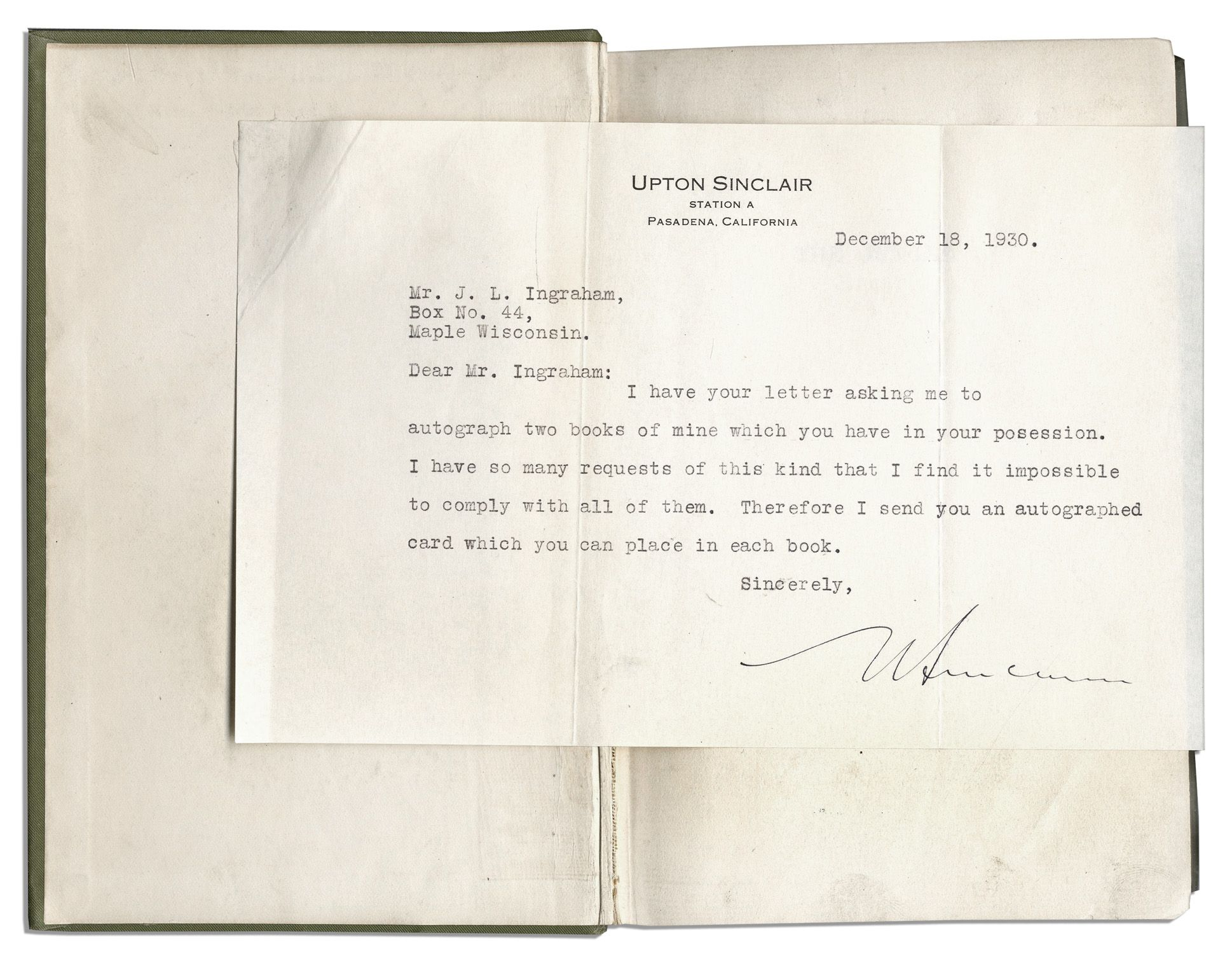 The jungle by upton sinclair letter