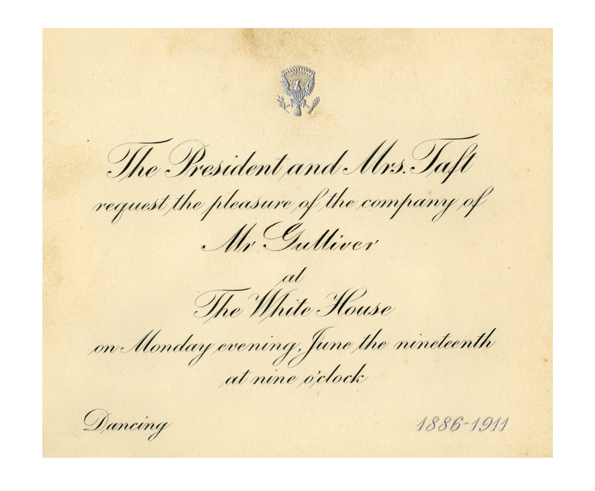 Lot Detail - President Taft Invitation to 1911 Taft Wedding ...