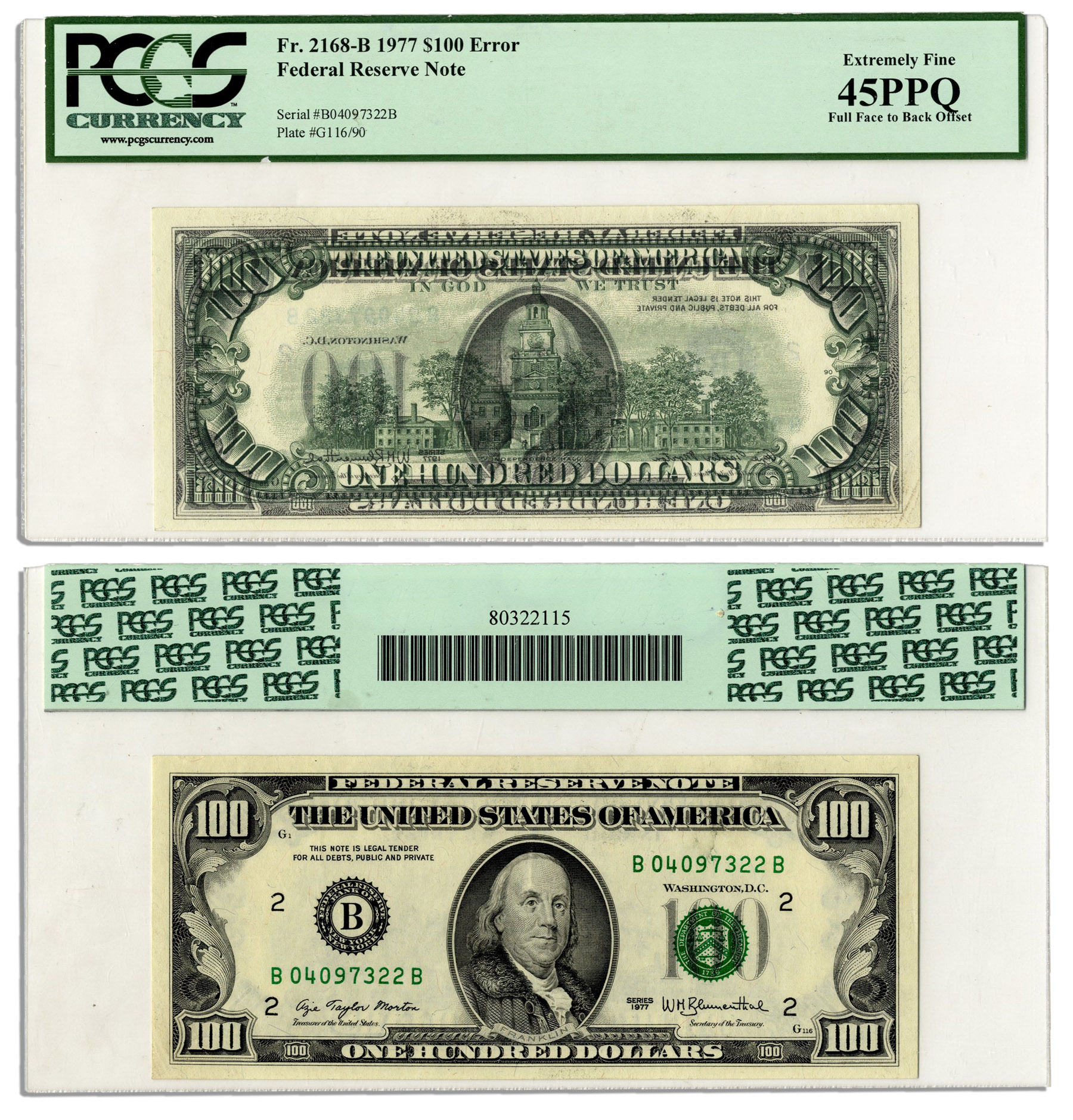 Lot Detail - $100 Federal Reserve Error Note -- Series 1977