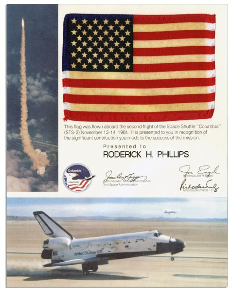 Space-Flown Flag From The Columbia STS-2 Mission