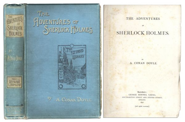 Rare First U.K. Edition of Sir Arthur Conan Doyle's ''The Adventures of Sherlock Holmes'' -- Southampton Street, London 1892 Publication