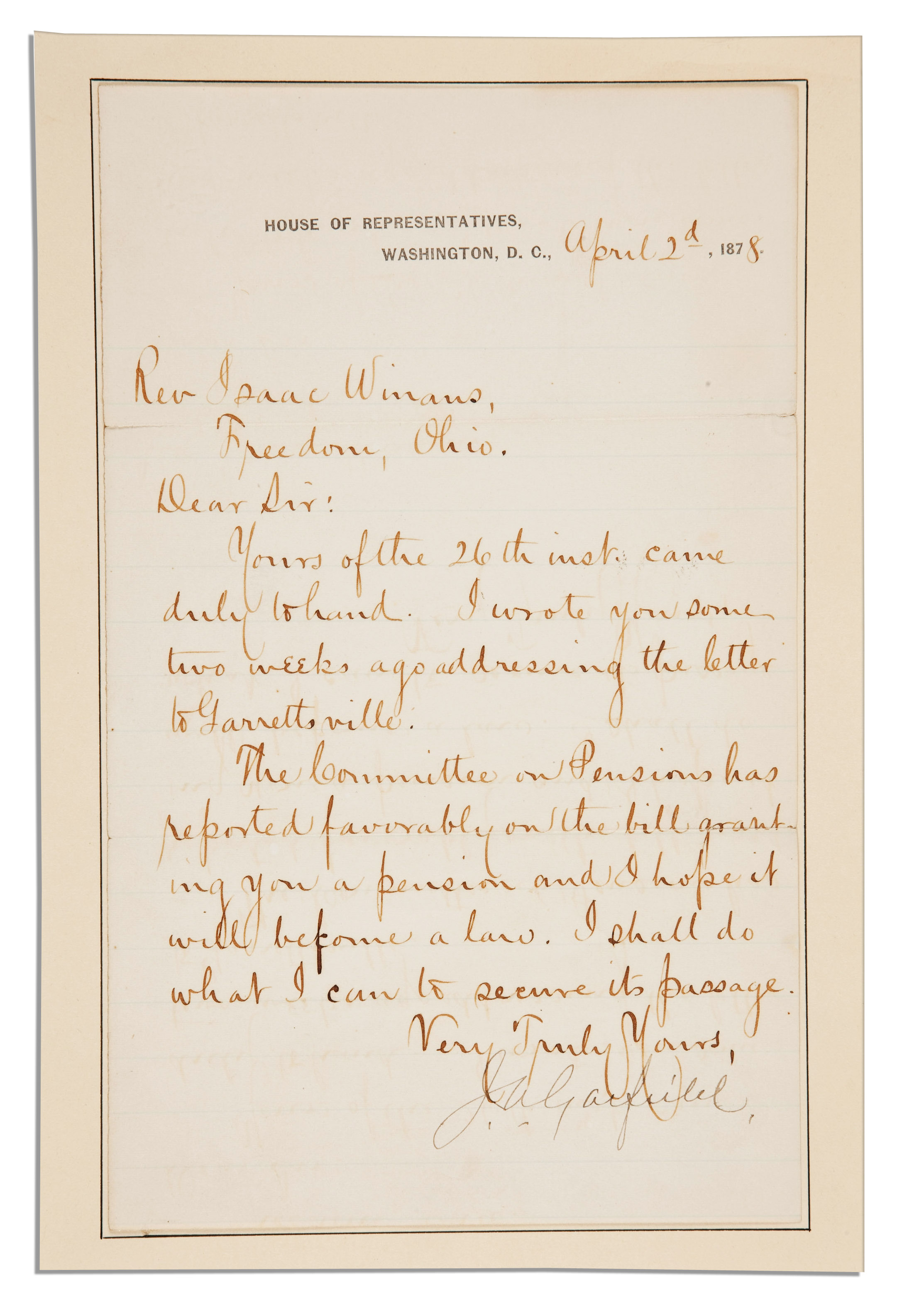 Lot Detail - James Garfield Letter Signed as an Ohio ...