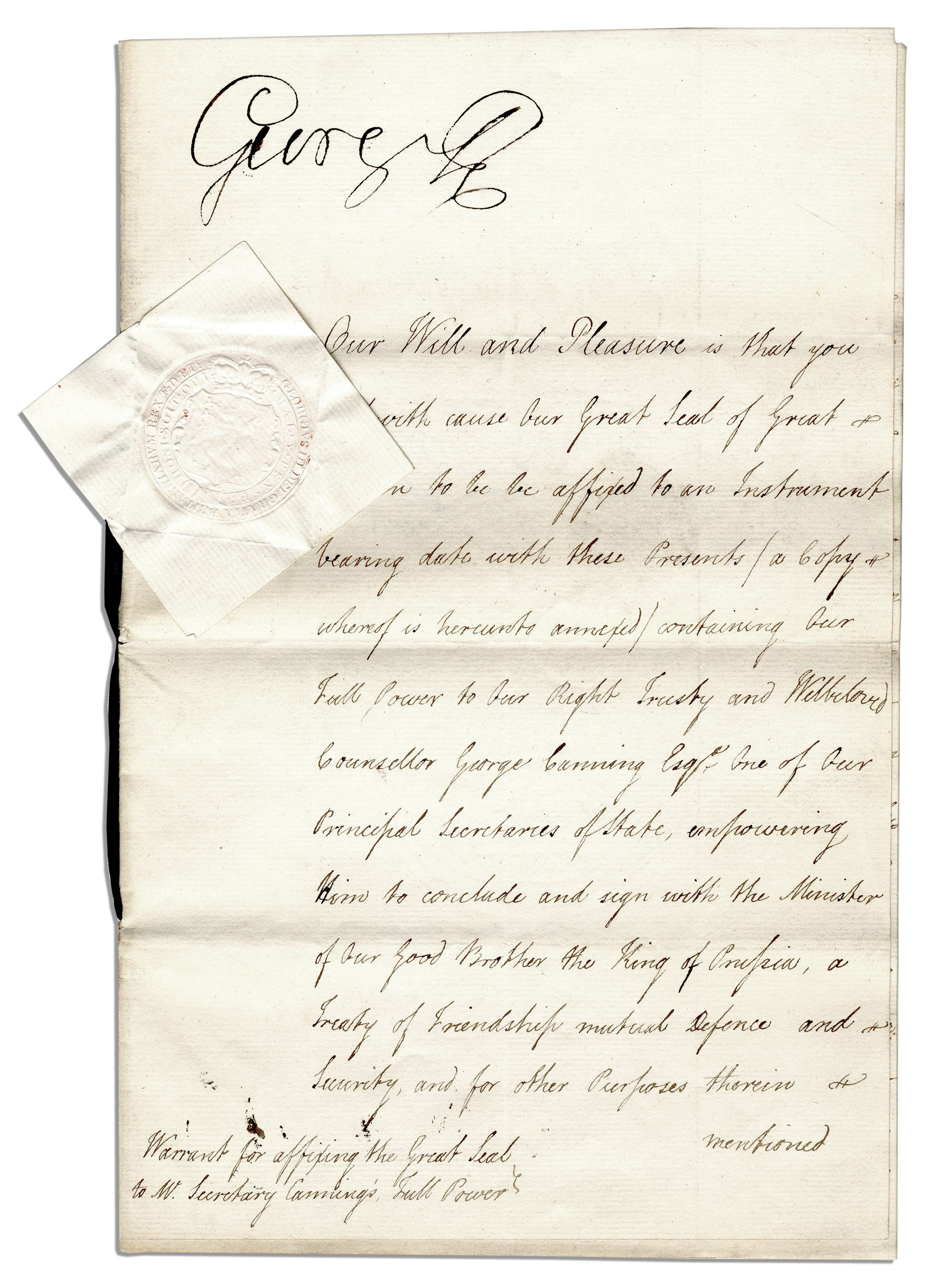 King George Memorabilia King George III Signed Napoleonic Wars Document -- Empowering His Foreign Minister to Sign a Peace Treaty With the Defeated King of Prussia
