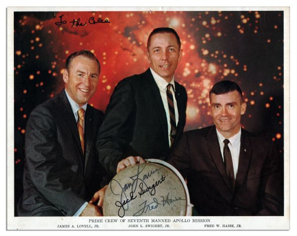 Apollo 13 Crew-Signed 10'' x 8'' Photo -- Issued by NASA Before The Nearly Disastrous Mission -- James Lovell, Jack Swigert & Fred Haise