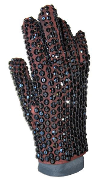 Michael Jackson's Famous Crystal-Encrusted Glove -- Worn by the King of Pop at the 1984 American Music Awards Honoring His Achievements on ''Thriller'' -- With Autograph Book Signed Four Times