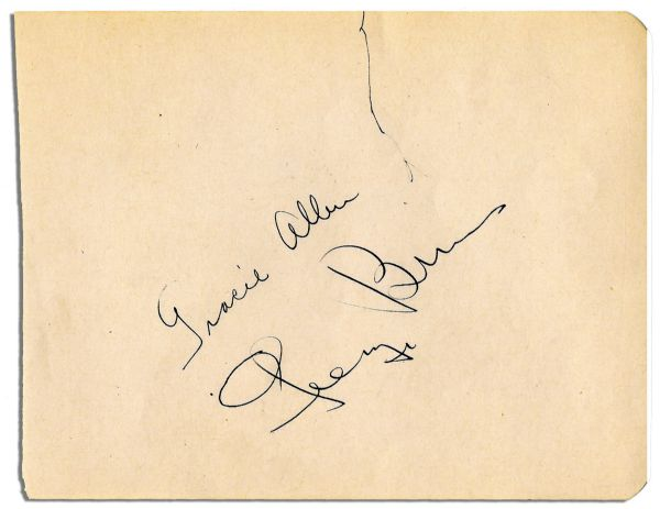 George Burns and Gracie Allen Signatures -- Clear Signatures From Infamous Comedy Couple -- 5.5'' x 4.5'' -- Near Fine
