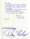Scarecrow Ray Bolger Autograph Letter Signed -- ...The make-up on my face was made of a special type of foam rubber... -- 1984