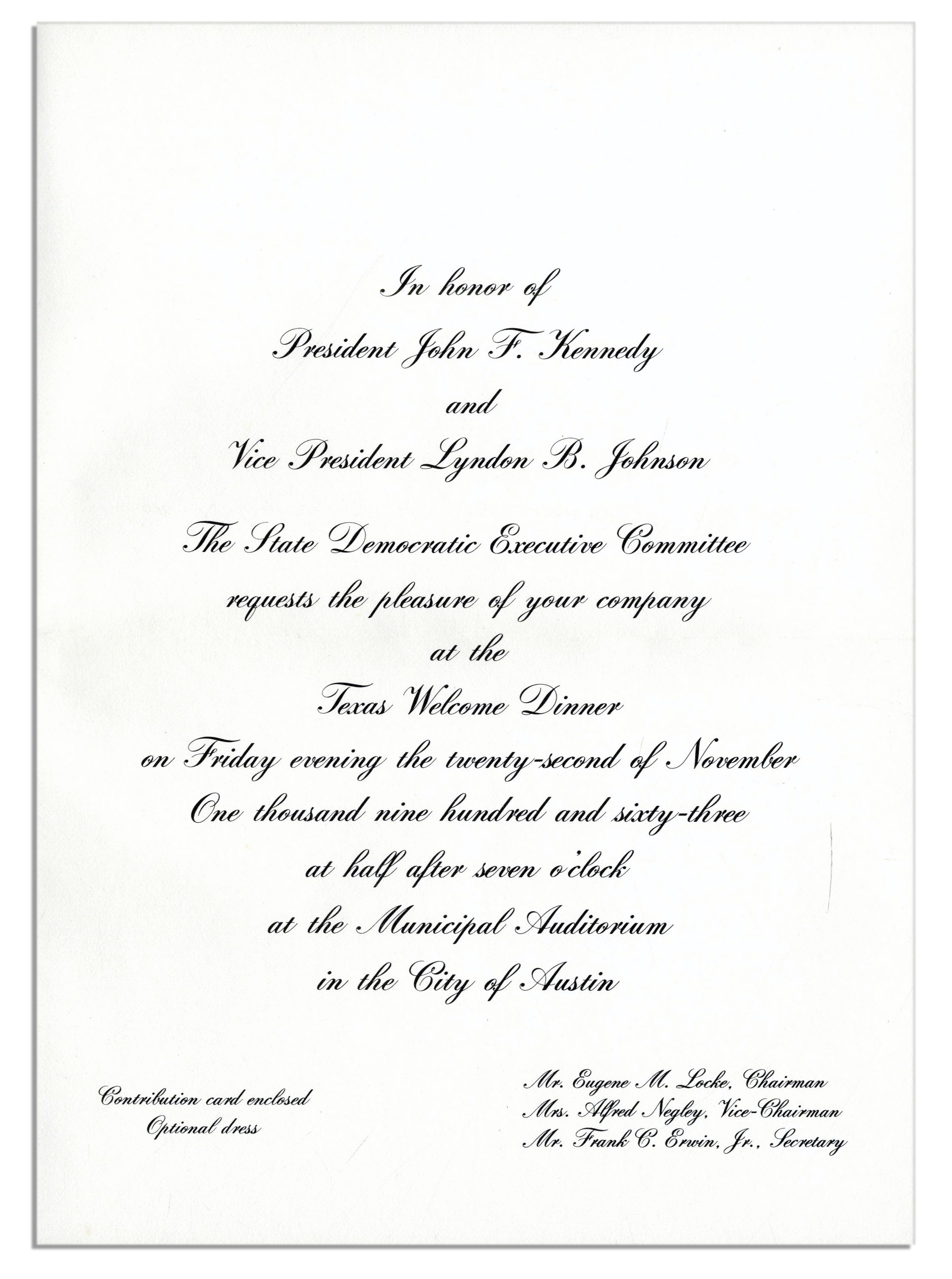 Lot detail invitation to jfks texas welcome dinner the night invitation to jfks texas welcome dinner the night of his assassination stopboris Image collections