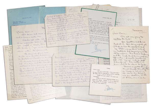 Mary Astor 20-Letter Lot -- ''...Thorpe is not going to stand still about his begging me to have an abortion, or the...plot...to see to it that I miscarried on the yacht trip to Honolulu...''