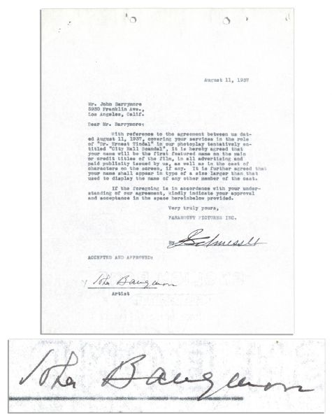 John Barrymore Typed Letter Signed Regarding His Billing in 1937 Paramount Picture ''City Hall Scandal''