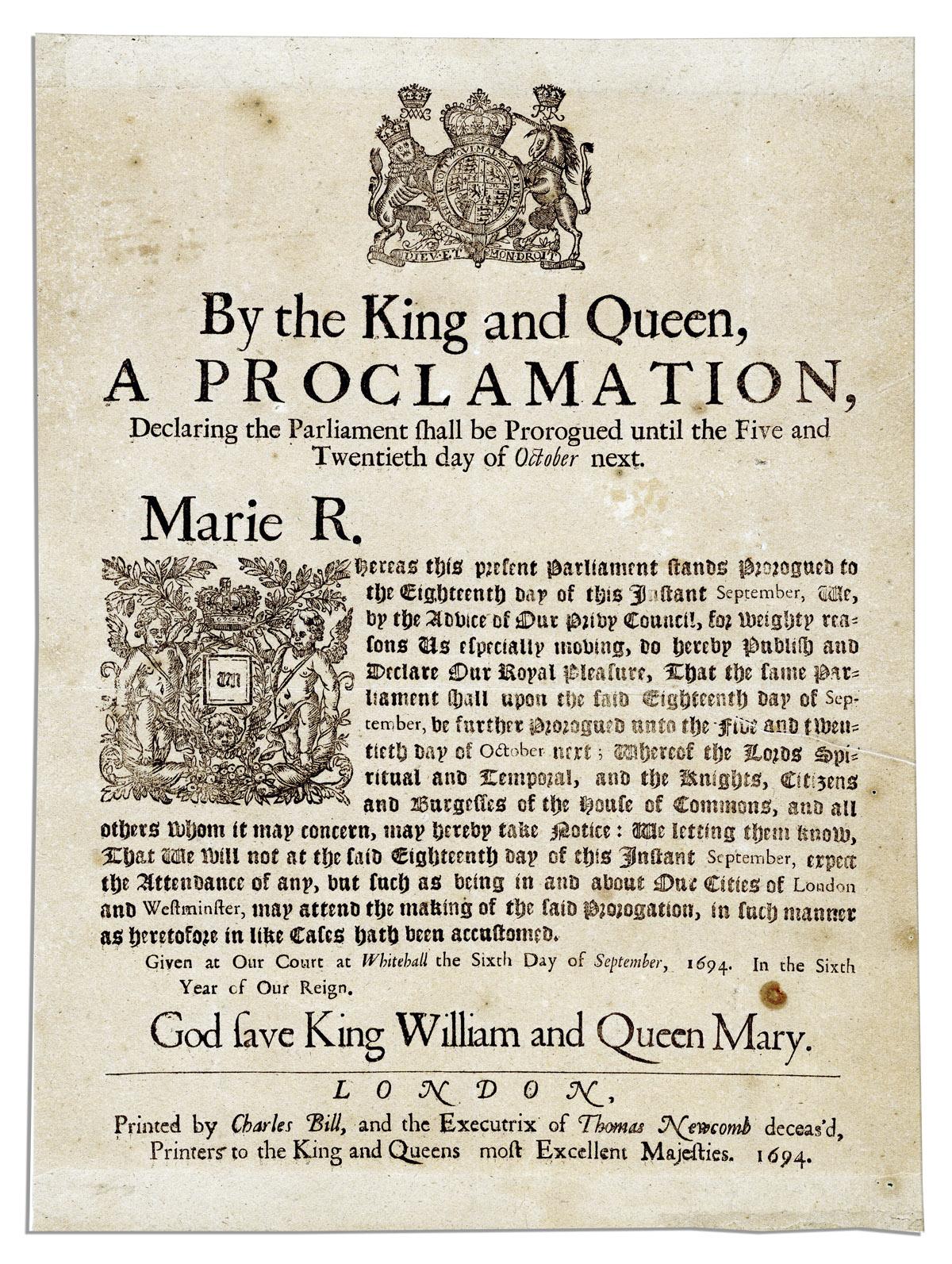 King William III and Queen Mary II 1694 Broadside Declaring The ...